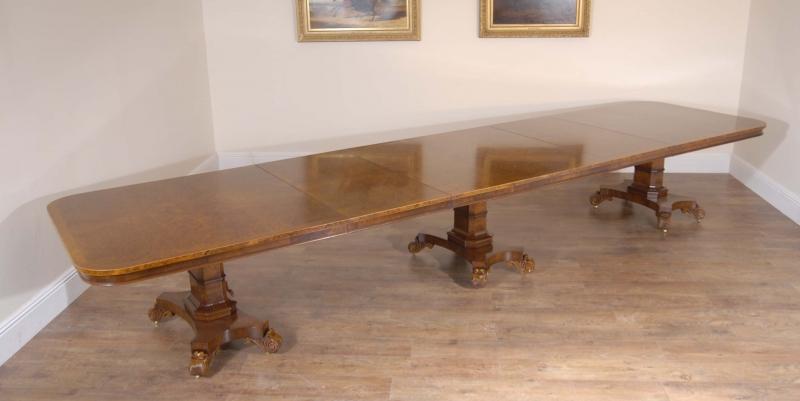 Photo of English 16 ft Walnut Georgian Pedestal Dining Table Bullock Base