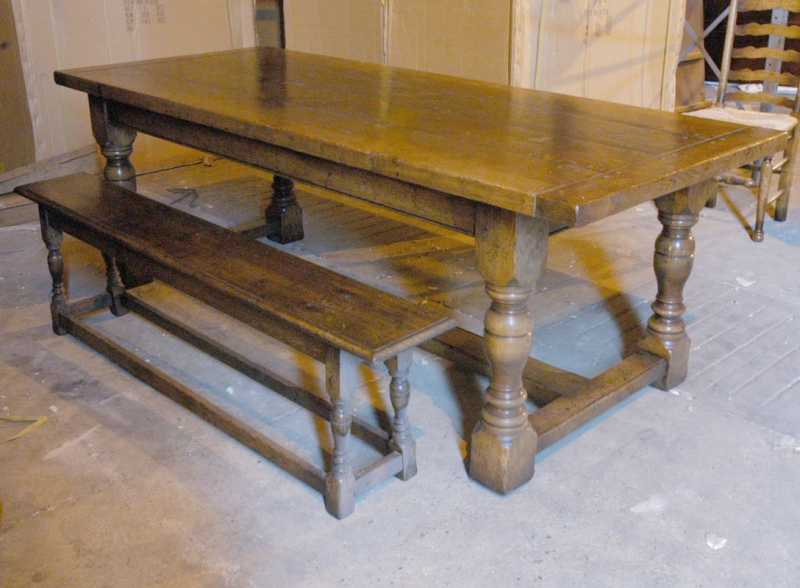 English abbey oak rustic refectory table bench dining set - Set de table matelasse ...