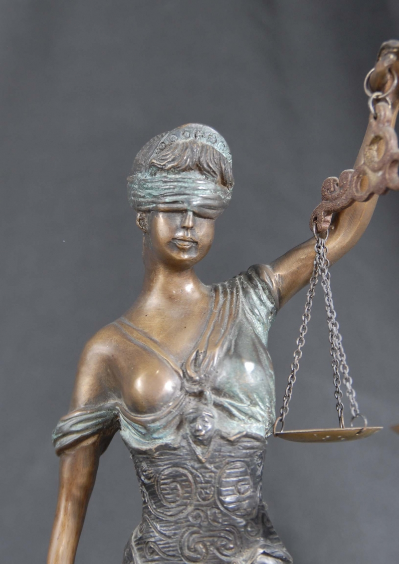 English Bronze Casting Lady Justice Figurine Blind Scales