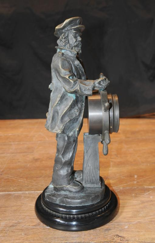 Photo of English Bronze Statue Sea Captain Helmsman Figure Ship Helm Clock