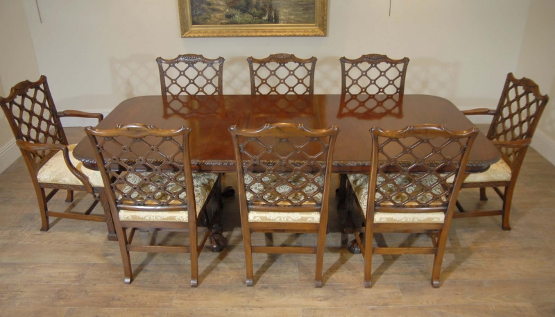 English Chippendale Mahogany Table Gothic Chair Dining Set EBay