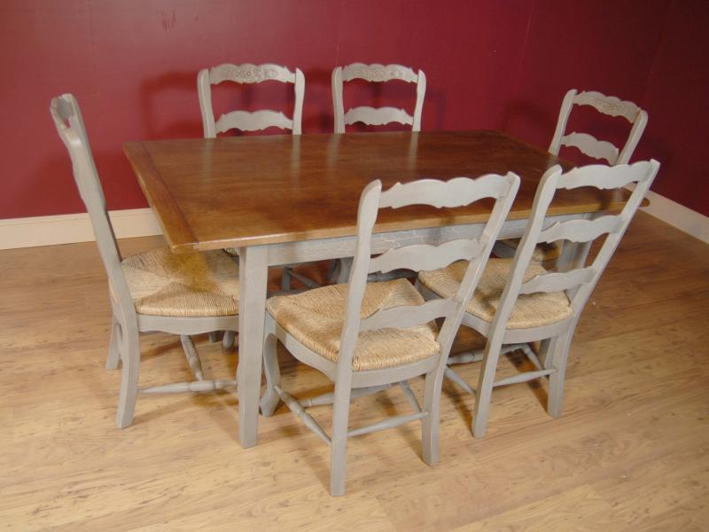English Farmhouse Painted Ladderback Chair Kitchen Refectory Table Set