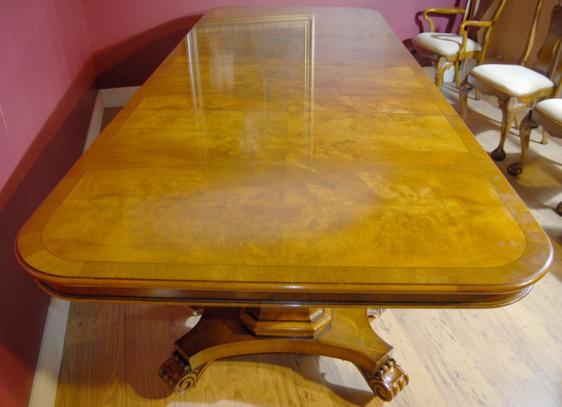 Photo of English George III Walnut Dining Table & 10 Queen Anne Chairs