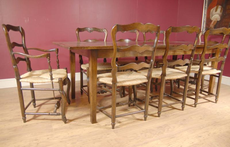 Oak dining set ladderback chairs refectory table suite for Oak farmhouse kitchen table and chairs