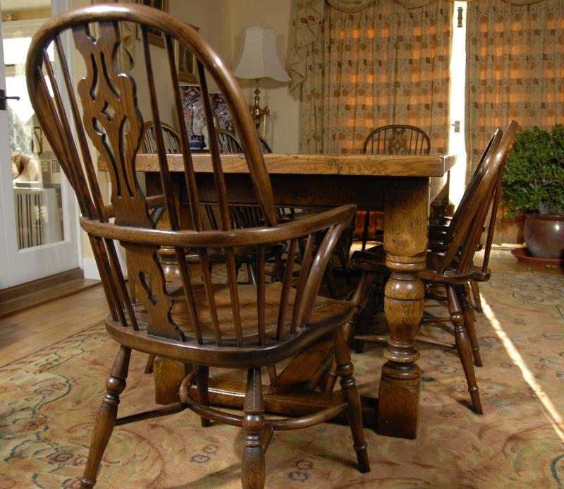 Oak Refectory Table And Kitchen Chair Set Farmhouse