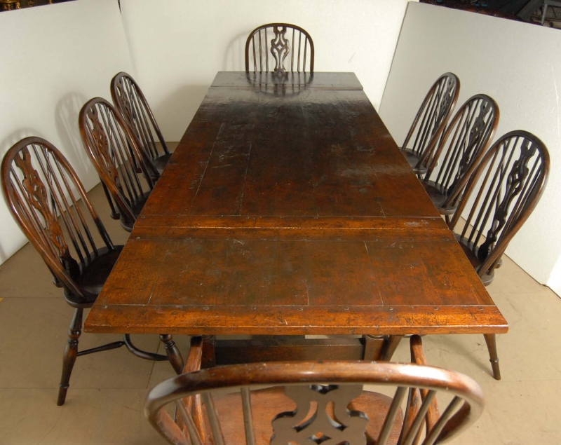 English Oak Windsor Chair & Rustic Refectory Table Set  eBay