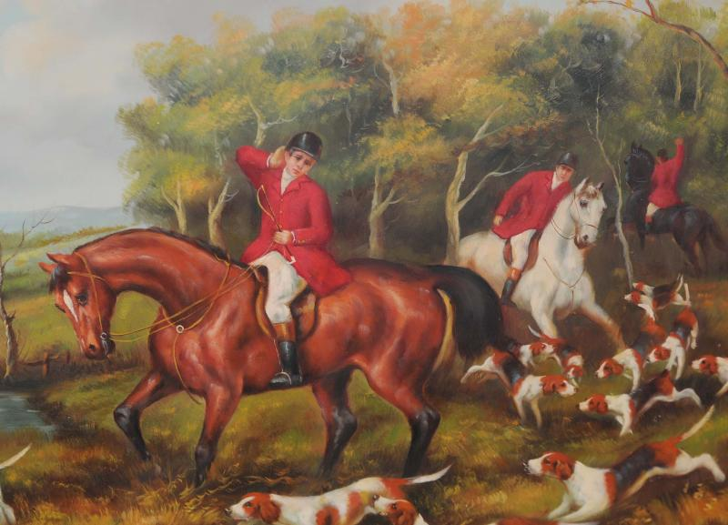 Photo of English Oil Painting Fox Hunt Hunting Scene Landscape Art