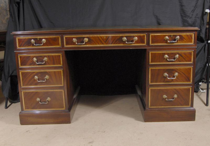 Photo of English Regency Writing Desk Pedestal Desks Inlay