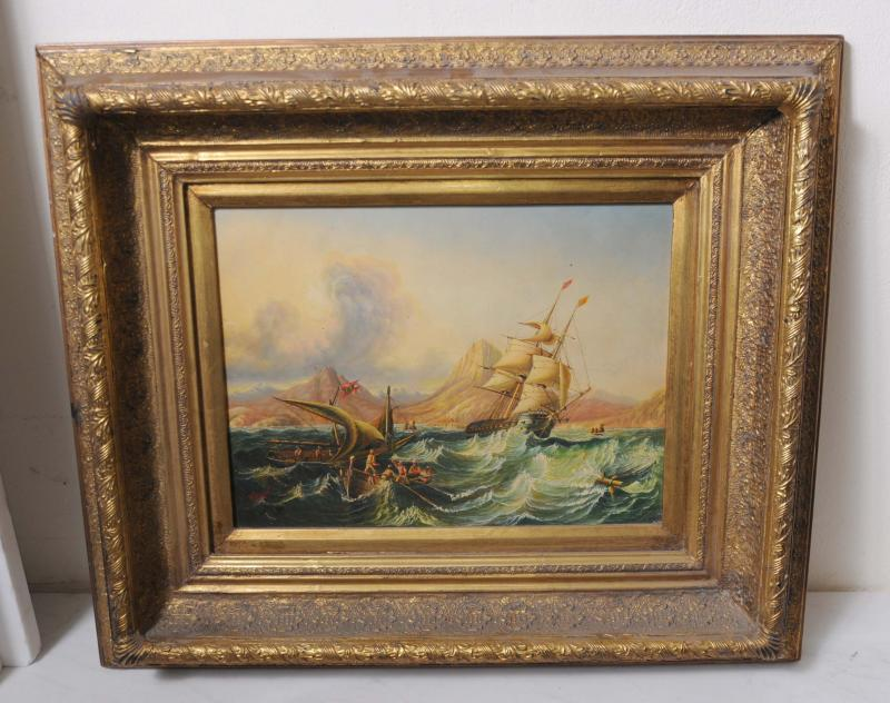 Photo of English Victorian Maritime Ship Seascape Oil Painting Art