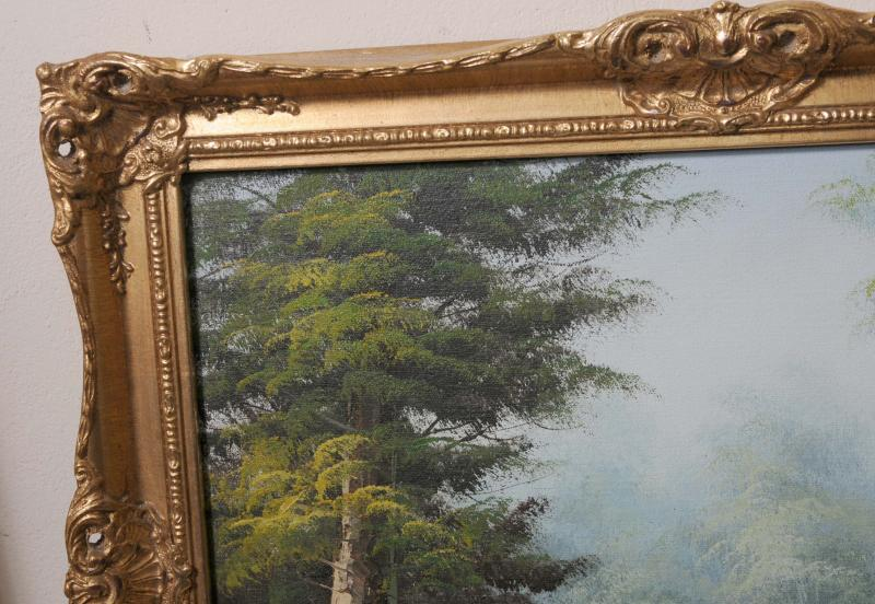 Photo of English Victorian Oil Painting Pastoral Landscape River Gilt Frame