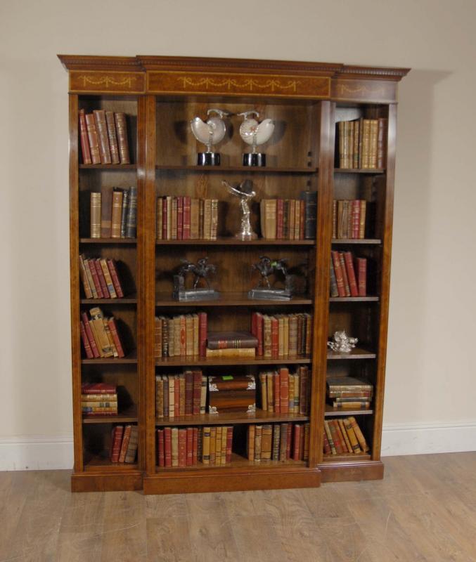 Photo of English Walnut Breakfront Bookcase Sheraton Regency