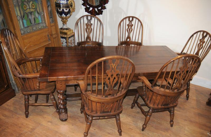 Farmhouse Refectory Table Set Windsor Arm Chairs Kitchen | eBay