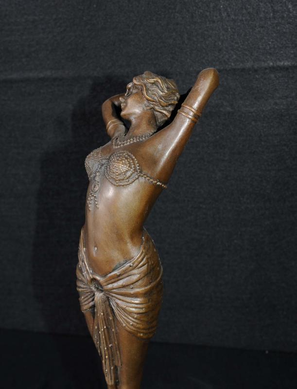 Photo of French Art Deco Bronze Figurine Signed Philippe Statue