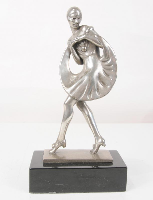 Photo of French Art Deco Bronze Harlequin Dancer Figurine Statue Clown