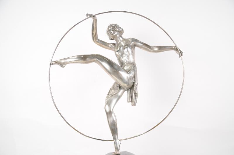 Photo of French Art Deco Bronze Hoop Dancer by Limoun 1920s Statue Figurine