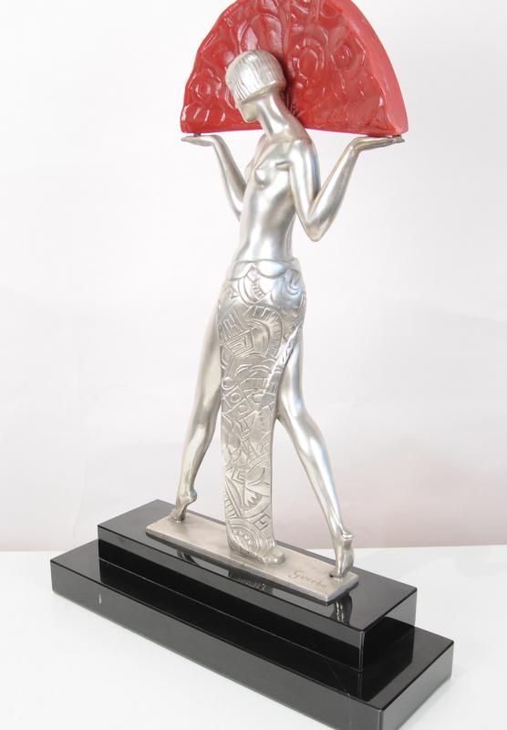 Photo of French Art Deco Table Lamp Light Semi Nude Figurine Statue