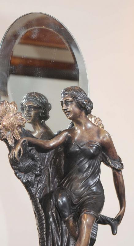 Photo of French Art Nouveau Bronze Figurine Mirror