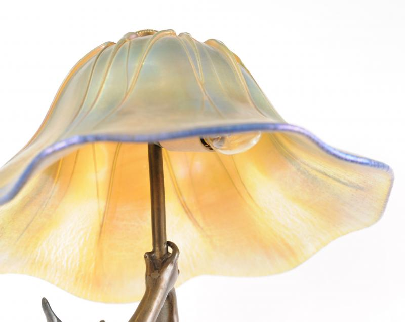 Photo of French Art Nouveau Bronze Table Lamp Statue by J. Causse