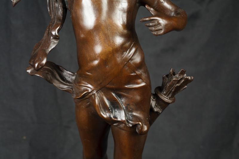 Photo of French Bronze Cherub Cupid Statue Casting 2ft Art Work Signed