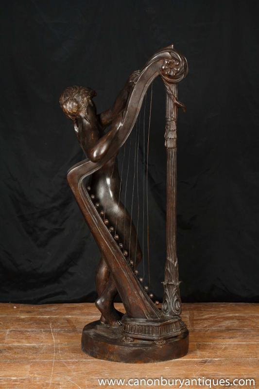 Photo of French Bronze Female Nude Harpist Statue Figurine Harp