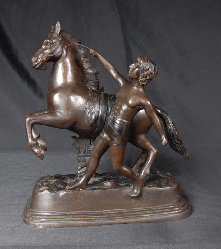 Photo of French Bronze Horse & Boy Statue Signed J Daste
