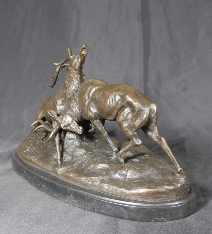 Photo of French Bronze Statue Rutting Stags Elk Moose Deer