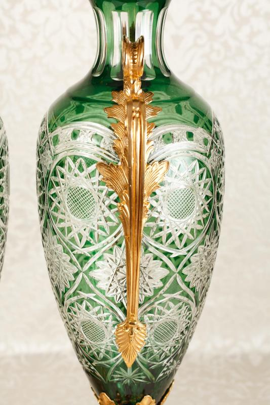 Photo of French Cut Glass Vases Urns Louis XV Classic Amphora