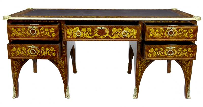 Photo of French Empire Desk Marquetry Inlay Bureau Plat Writing Table