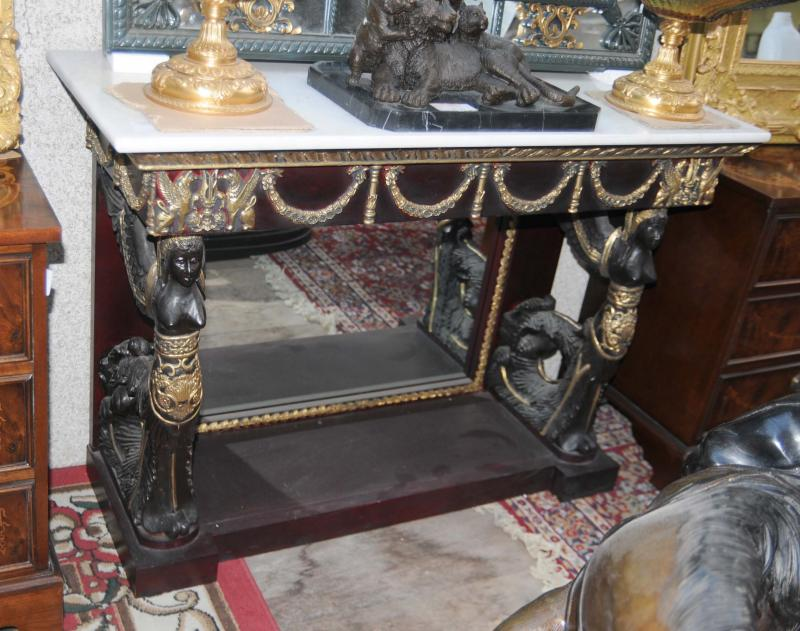 Photo of French Empire Sphinx Console Table Mirrored Tables