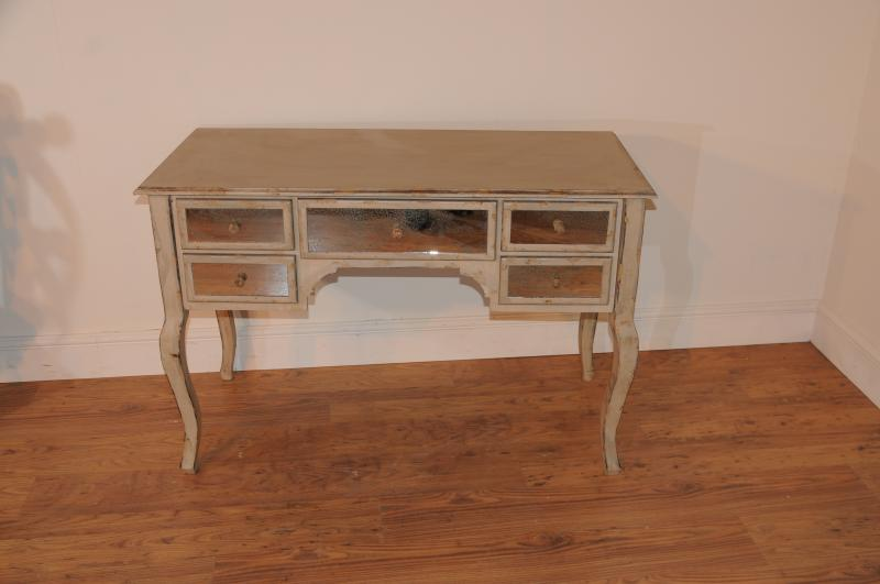 Photo of French Mirrored Pedestal Desk Bureau Plat Writing