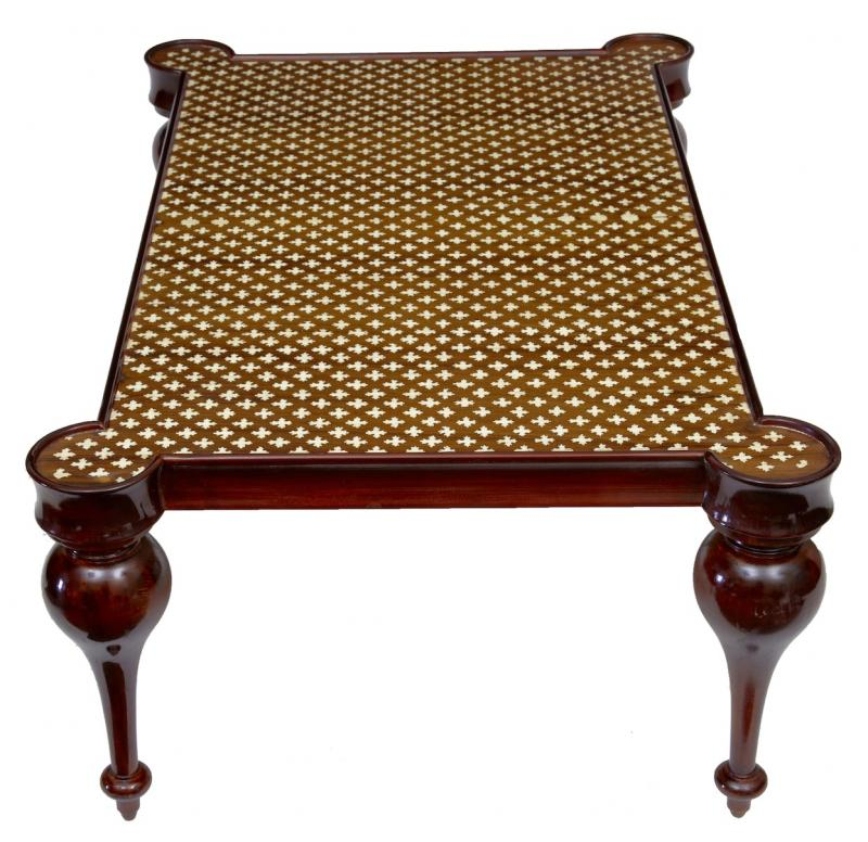french regency bone inlay coffee table arabesque cocktail tables ebay. Black Bedroom Furniture Sets. Home Design Ideas
