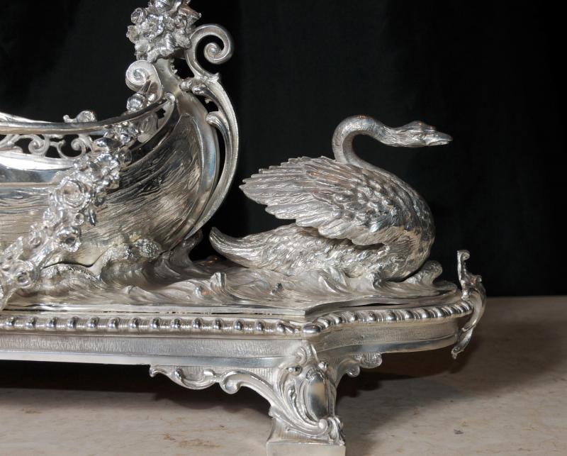Photo of George II Silver Plate Boat Cherub Centrepiece Dish Tray Swan