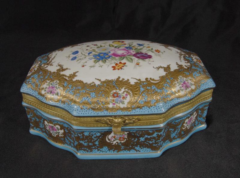 Photo of German Dresden Porcelain Jewellery Box Case