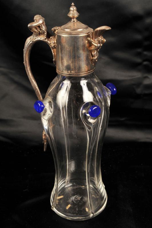 Photo of Glass Art Nouveau Jug Decanter Ewer Pewter