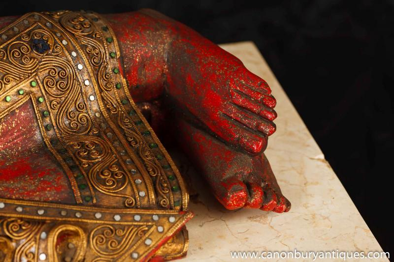 Photo of Hand Carved Burmese Buddha Statue Buddhist Buddhism Religious Art