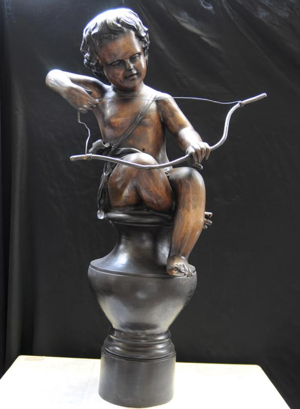 Photo of Italian Bronze Statue Cupid Cherub Bow Arrow Putti Figurine