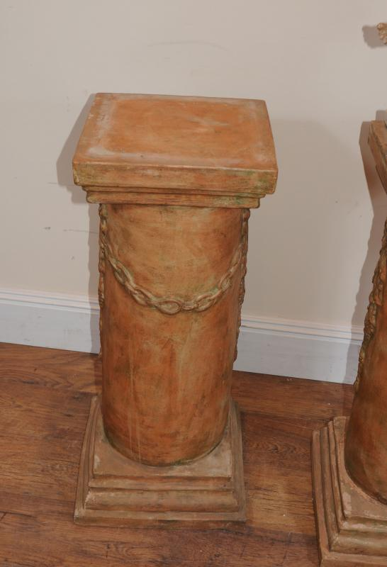 Photo of Italian Terracotta Cherub Pedestal Columns Garden Art