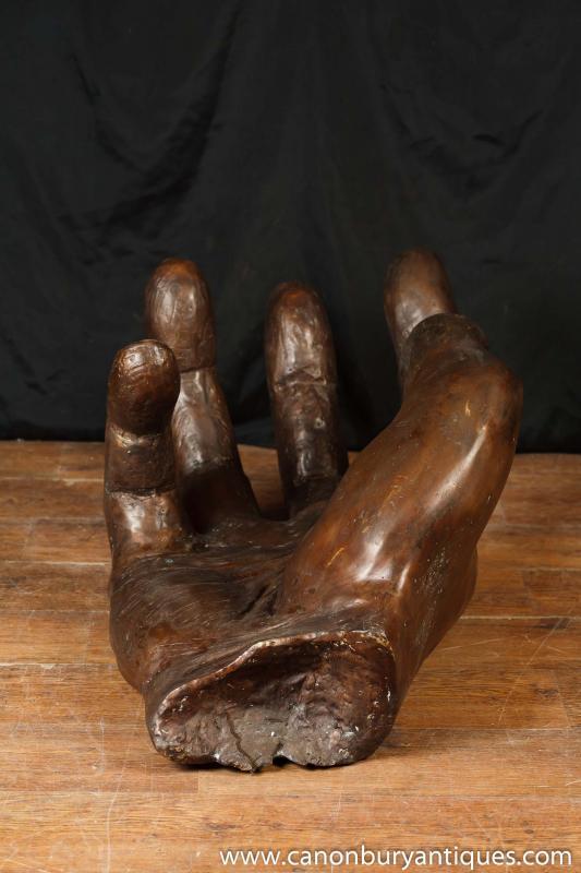 Photo of Large Antique Bronze Hand Sculpture Architectural Casting Bronzes