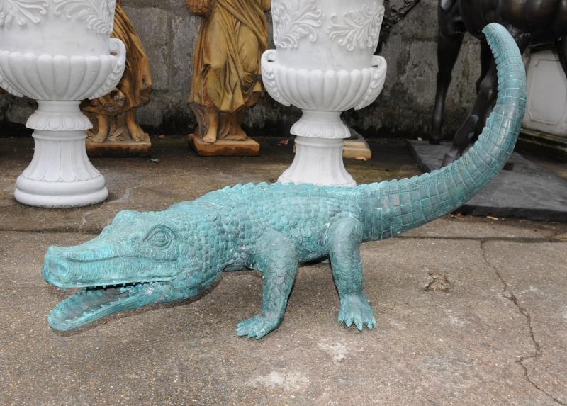 Photo of Large Bronze Crocodile Alligator Statue Garden Art