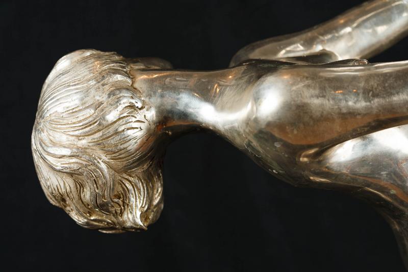 Photo of Large Silver Bronze Art Deco Dancing Figurine Statue