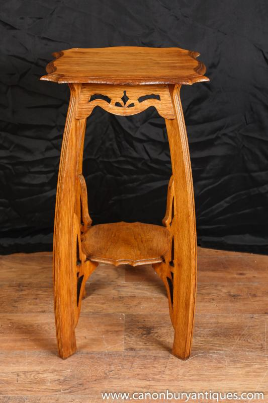 Oak Arts And Craft Side Table Pedestal Stand Antique