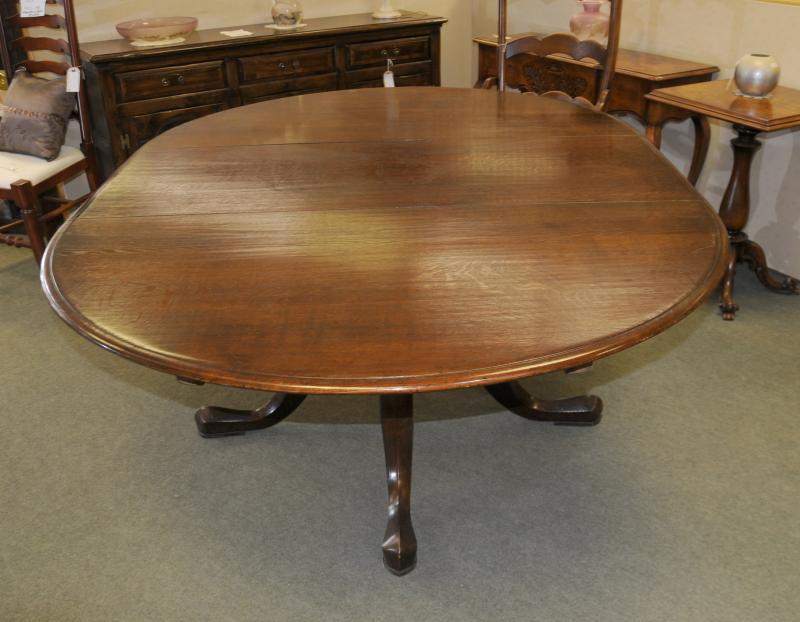 Photo of Oak Farmhouse Pedestal Dining Table Kitchen Tables