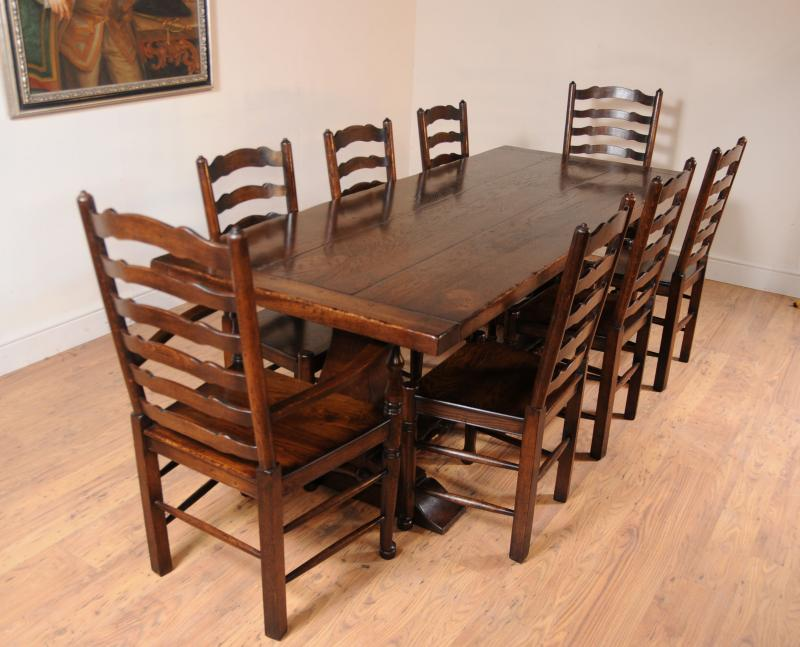 oak kitchen dining set ladderback chairs refectory ebay