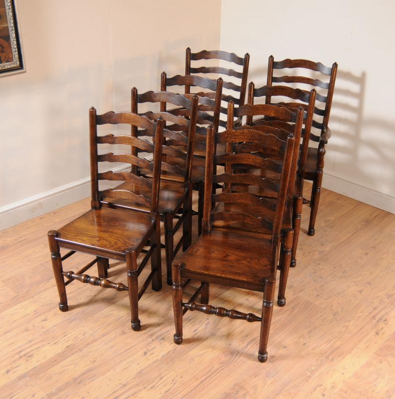 Oak Kitchen Dining Set Ladderback Chairs Refectory