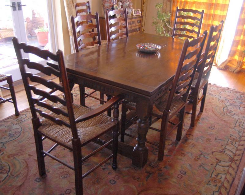 Tabela De Refeitorio Carvalho Set Ladderback Cadeiras Cozinha Sala