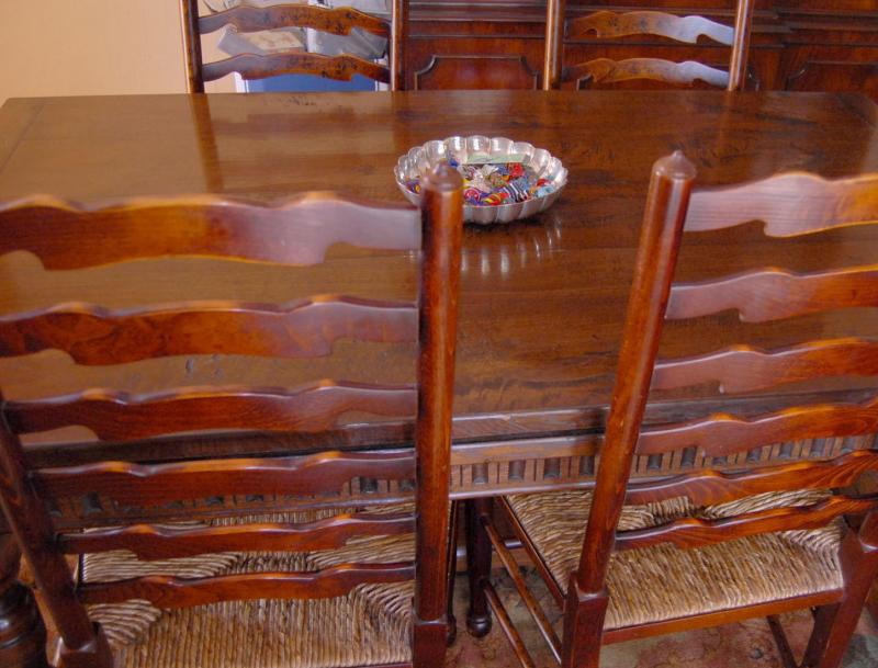 Photo of Oak Refectory Table Set Ladderback Chairs Kitchen Dining