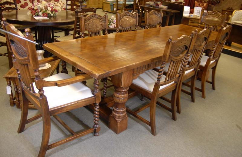 Piece Description Perfect English Farmhouse Rustic Refectory Table In Oak With Matching Set