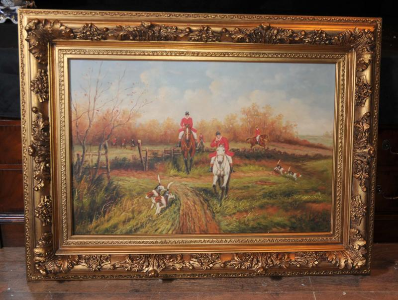 Photo of Oil Painting Fox Hunting Scene Hunt Horse Victorian Art Signed