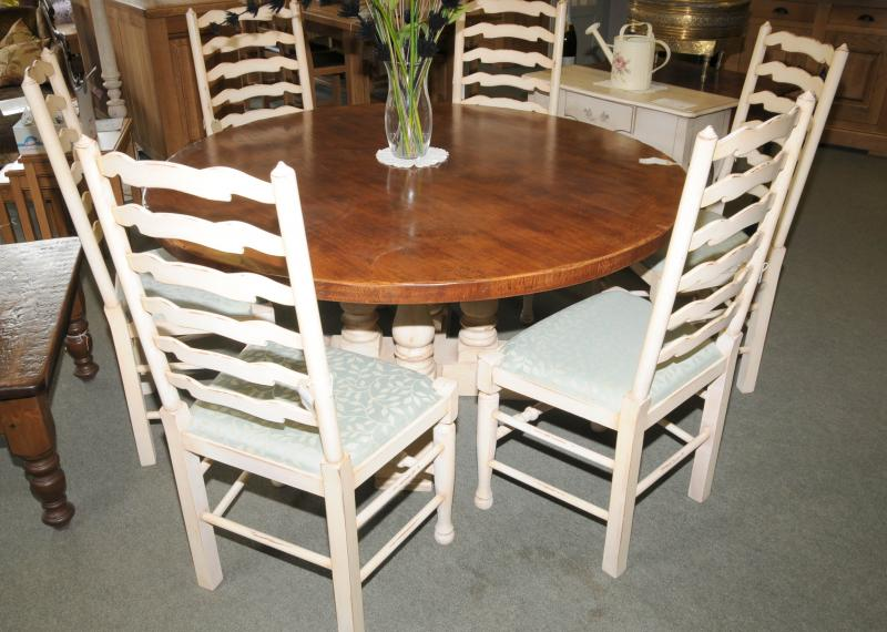 photo of painted country table set ladderback chairs set