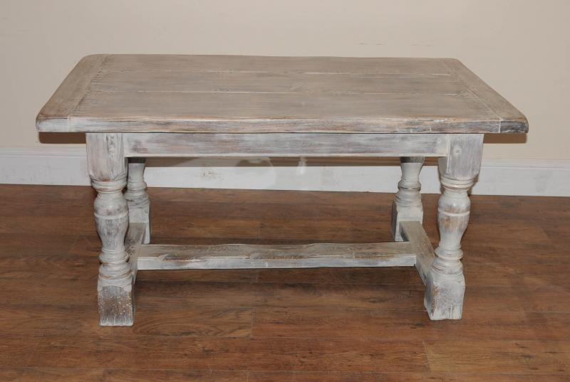Photo of painted oak rustic kitchen refectory table dining
